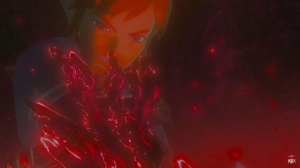 Capture d'écran du teaser de the Legend of Zelda Breath of the Wild 2: Link envahi par la corruption.