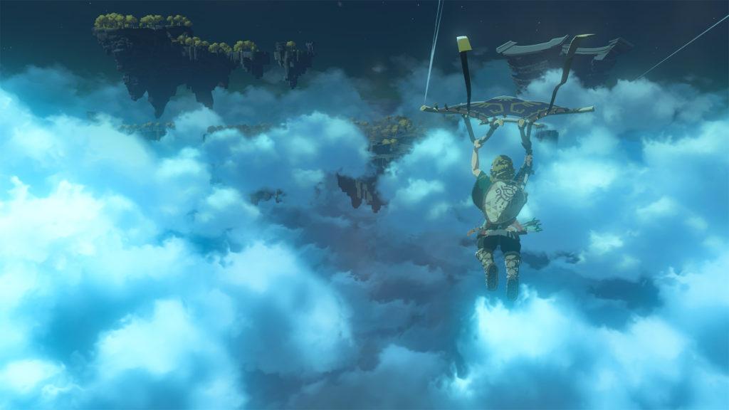 Capture d'écran du teaser de the Legend of Zelda Breath of the Wild 2: Link en paravoile.