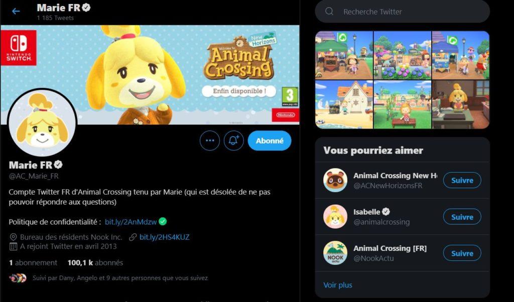Compte Twitter officiel d'Animal Crossing France