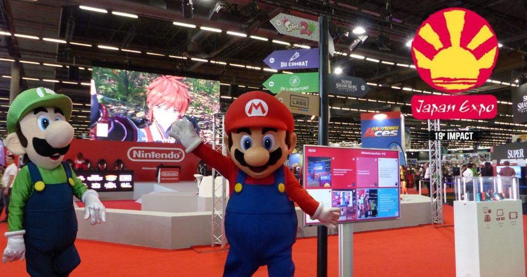 Stand Nintendo de la Japan Expo 2018 avant que les visiteurs arrivent.