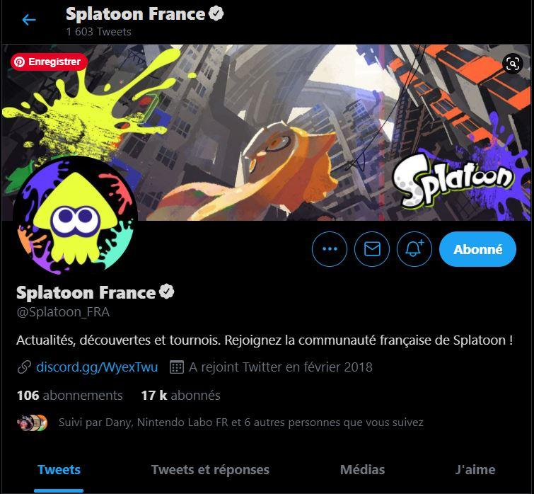 Compte Twitter officiel de Splatoon France