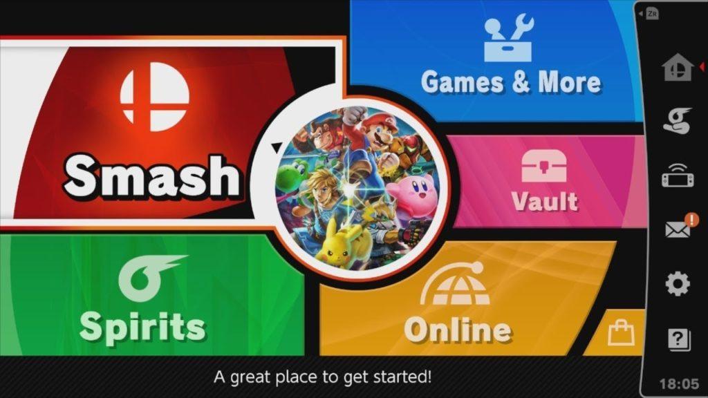 Menu de Super Smash bros. Ultimate