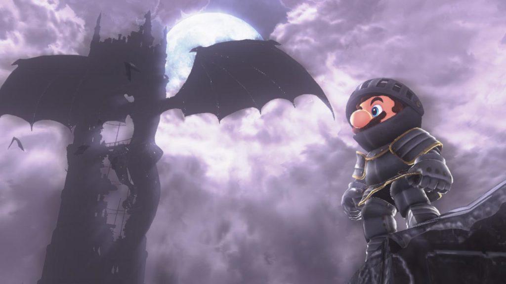 Mario costumé en armure de chevalier dans Super Mario Odyssey