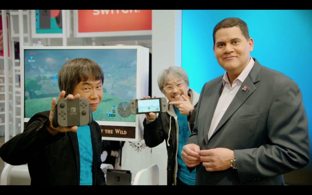Shigeru Miyamoto (directeur général de Nintendo), Eiji Aonuma (producteur de la série Zelda) et Reggie Fils-Aime (président de Nintendo of America)