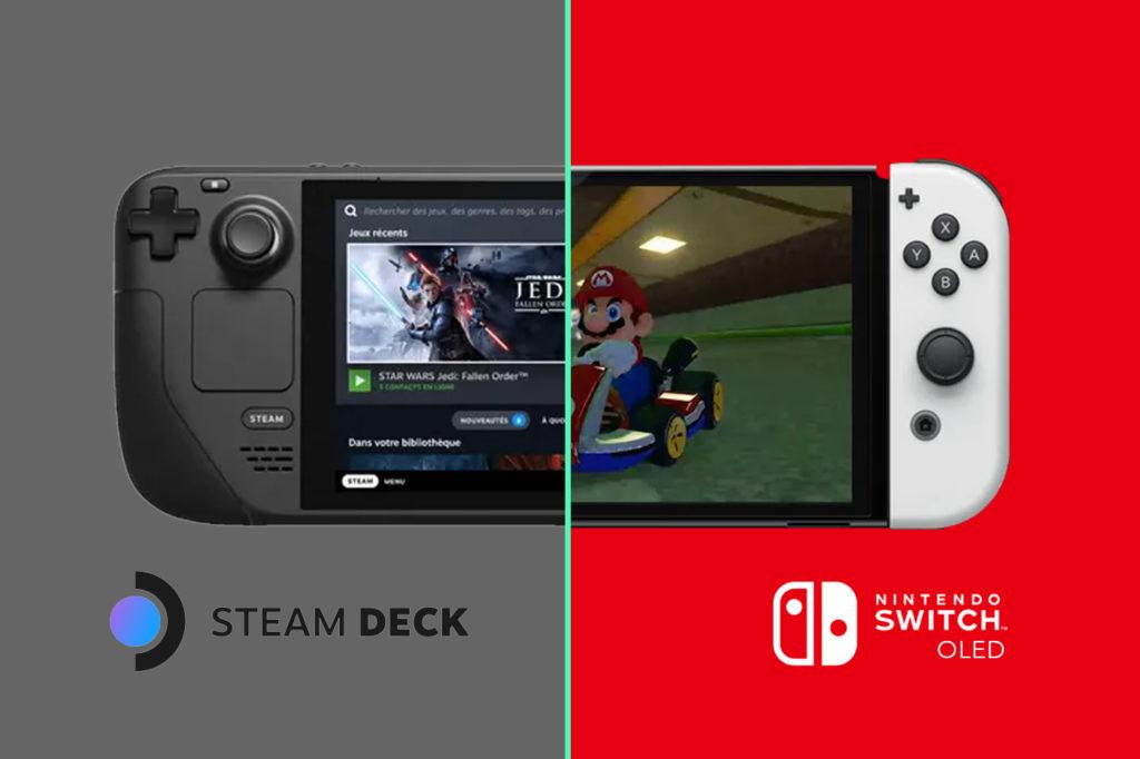 Steam Deck et Nintendo Switch Modèle OLED